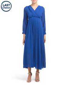 COOLPLES Made In Italy Solid Pleated Chiffon Dress