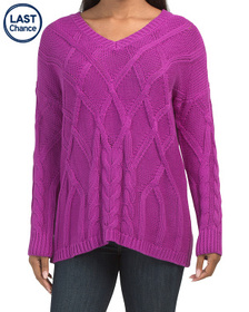 CHAUS V-neck Cabled Sweater