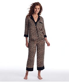 kate spade new york Leopard Cropped Woven Pajama S