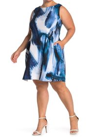 Vince Camuto Printed Fit and Flare Sleeveless Dres