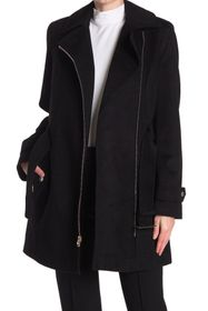 Michael Kors Asymmetrical Zip Belted Wool Blend Co