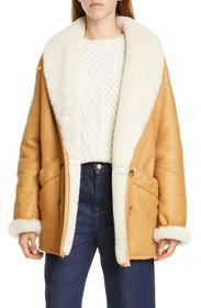 FRAME Genuine Shearling Lined Leather Coat