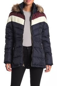 Nine West Faux Fur Trim Quilted Colorblock Jacket