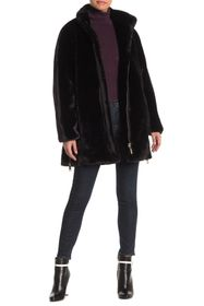 Nine West Plush Faux Fur Zip Hem Coat