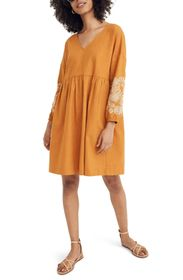Madewell Embroidered Sleeve Popover Dress