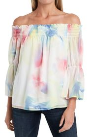 Vince Camuto Off-the-Shoulder Smocked Watercolor P