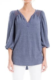 Max Studio Lace Inset 3/4 Sleeve Textured Knit Blo