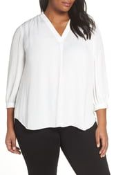 Vince Camuto Rumpled Satin 3/4 Sleeve Blouse