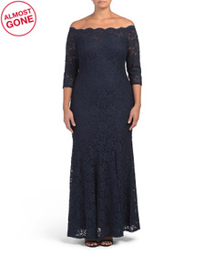 Plus Off The Shoulder Three-quarter Sleeve Lace Go on sale at T J Maxx