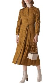 Whistles Renee Autumn Floral Long Sleeve Shirtdres