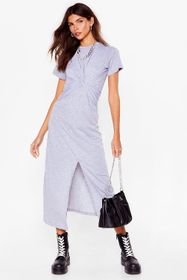 Nasty Gal Grey Oops You Twist Tee Maxi Dress