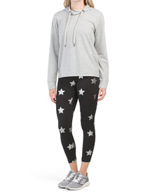 Tulip Neck Pullover With Star Legging Set