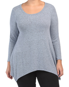 Plus Long Sleeve Sharkbite Cozy Knit Top