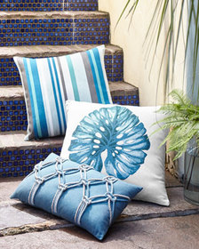 Elaine Smith Lagoon Stripe Pillow 20Sq.