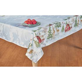 Country Holiday Print Damask Tablecloths