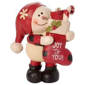 Blossom Bucket Joy To You Snowman with Stocking
