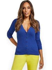 Jeweltone-Button Chelsea V-Neck Cardigan - New Yor