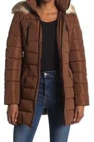 Nautica Faux Fur Hood Belted Puffer Jacket