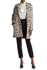 T Tahari Notch Collar Leopard Printed Coat