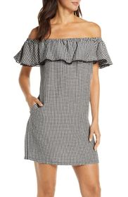 Tommy Bahama Off the Shoulder Gingham Cover-Up Dre