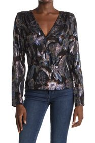 Ramy Brook Rainn Metallic V-Neck Top
