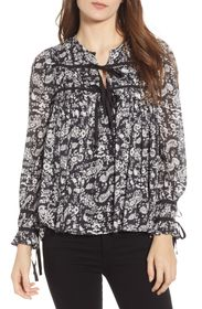 Rebecca Minkoff Quinn Paisley Tie Front Top