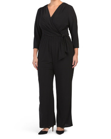 Plus Made In Usa Wrap V-neck Stretch Ity Jumpsuit