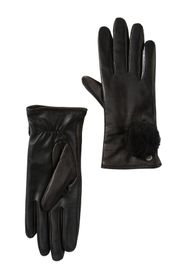 UGG Genuine Dyed Shearling Pompom Leather Gloves