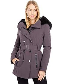 Calvin Klein Double Breasted Softshell Coat with B