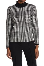 T Tahari Mock Neck Long Sleeve Sweater