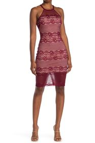 GUESS Illusion Halter Neck Lace Bodycon Dress