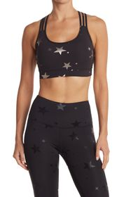 90 Degree By Reflex Star Print Strappy Sports Bra