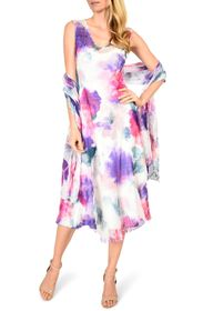 Komarov Handkerchief Hem Chiffon Midi Dress with S