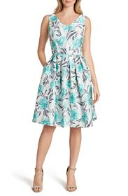 Tahari Jacquard Fit & Flare Sleeveless Dress