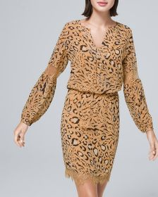 Lace-Trim Blouson Dress with Abstract-Animal Print