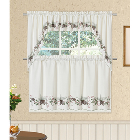 Lorraine Home Fashions Pine & Holly Embroidered Ti