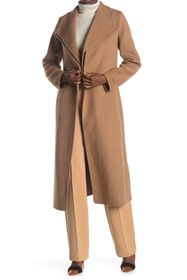 Tahari Elliot Tie Wrap Midi Wool Blend Coat