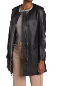 Cole Haan Leather Car Coat
