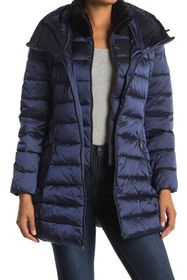 Tahari Faux Fur Trim Collar Hooded Bib Puffer Jack