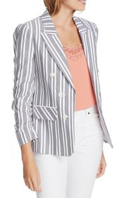1.STATE Stripe Ruched Sleeve Blazer