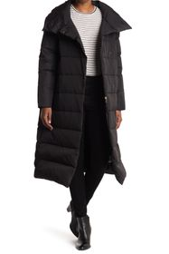 Donna Karan Channel Quilted Long Down Puffer Parka