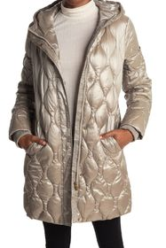 Donna Karan Hooded Zip Front Quilted Jacket