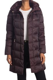 Tahari Sia Faux Fur Trim Puffer Coat