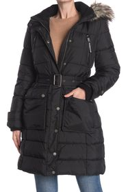 Lucky Brand Faux Fur Trim Hooded Belted Puffer Jac