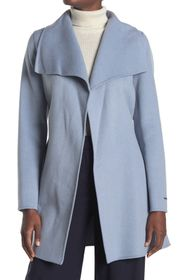 Tahari Ella Wing Collar Tie Waist Wool Blend Coat