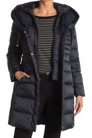 Tahari Hooded Bib Quilted Long Puffer Jacket