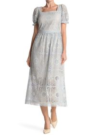 Elie Tahari Rosalyn Lace Square Neck Midi Dress