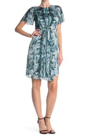 Elie Tahari Dia Snake Print Silk Draped Dress