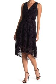 Elie Tahari Celeste Leopard Burnout V-Neck Dress