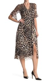 Elie Tahari Ava Printed Wrap Silk Midi Dress